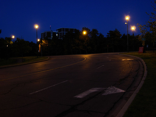 """approaching carleton @ night..."" by Flickr user steveleenow"